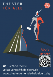 Werbeplakat der Theatergemeinde mit Kontaktdaten und QR-Code